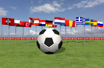 Fußball EM 2008 mit Nationalflaggen