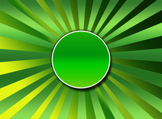 green sunburst with center button