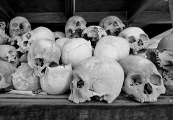 Skulls  at The Killing Fields at Choeung Ek, Cambodia
