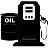 oil barrel supplying the demand of fuel or gas pump poster