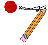 pencil signing document with confidential wax seal  poster