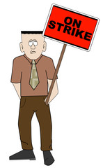 business man holding red on strike sign - picketing