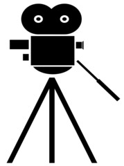 black silhouette of movie camera on white background
