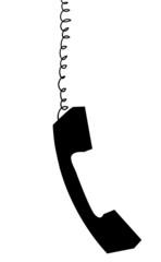 Receiver handset from  telephone hanging down