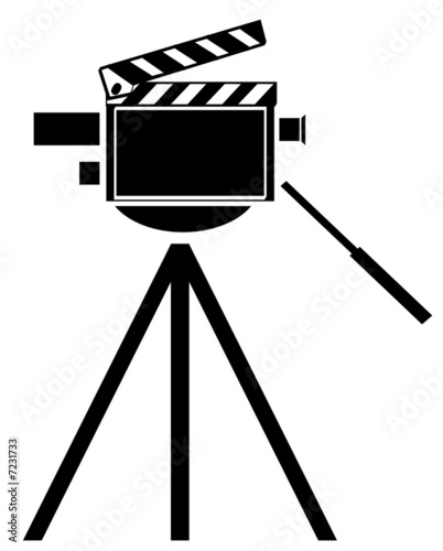 black silhouette of movie camera with camera as clapboard