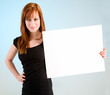 Young Redhead Woman Holding a Blank White Sign