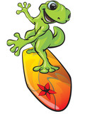 Gecko Character on a Surf Board poster