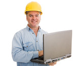 Contractor with Laptop poster