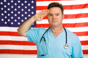 Doctor Salutes the Flag