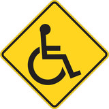 Disabled person warning road sign