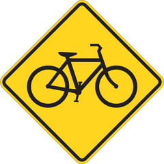 Bicycle traffic warning on white