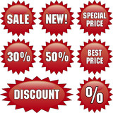 Vector template of discount labels poster