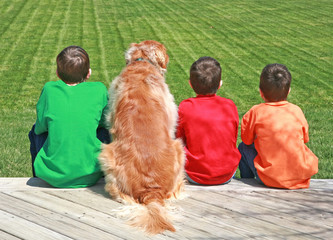 Three Boys Sitting on the Deck with the Dog