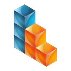Sechs Würfel - orange, blau