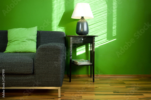 Green room with sofa