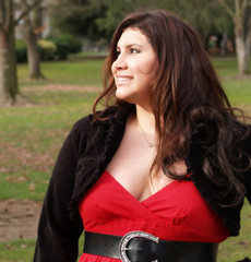 Plus-size woman in red dress
