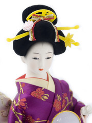Traditional Japanese Doll with isolated white background