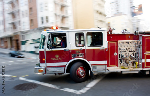 Fire Engine in a Big City - 7251382