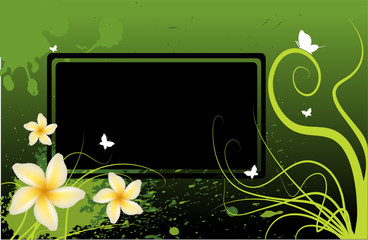 Vector floral abstract background, with yellow flowers.