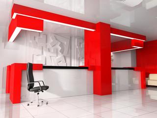 Red reception in modern hotel
