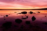 purple idylic sunset over sea water poster