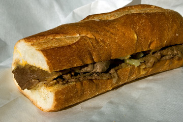 Authentic Philadelphia cheesesteak from Geno's in South Philly