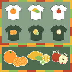 tshirts with orange, apple, and lemon and lime designs