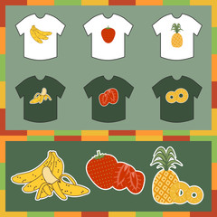 tshirts with fruit designs, banana, strawberry, pineapple