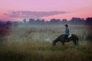 Cowboy  in the steppe