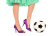 Sensual women legs playing football