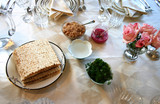 Traditional Passover Seder Service Table Setting