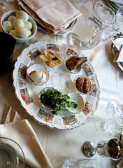 Traditional Passover Seder Plate in Jewish Home