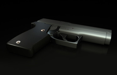 Illustration of Handgun on a black reflective background