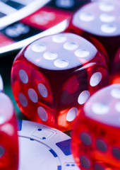 Dice on cards in casino