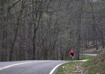 Bicyclist training for race