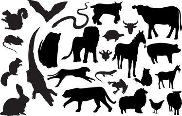 Vector animal silhouettes (more detailed versions available)