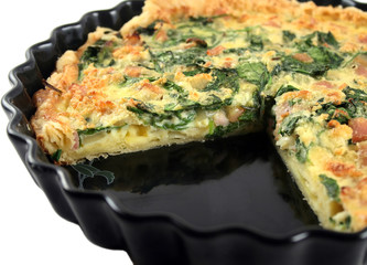 Sliced Spinach And Bacon Quiche