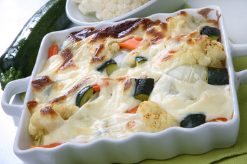 Baked vegetable in white creamy sauce