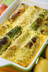 Baked green cabbage  in dough