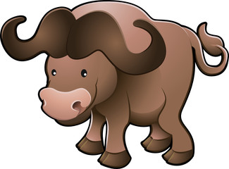 Cute African Cape Buffalo Vector Illustration