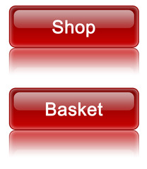 Red Web 2.0 Shop / Basket buttons