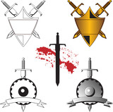 3 Sword tattoo crests poster