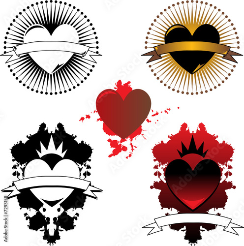 Three vector heart tattoos with banners