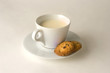 Cup of coffee with milk and cookies, clipping path included