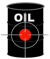 black oil barrel with crosshair target on it