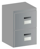 3d two drawer grey filing cabinet with handles and labels poster