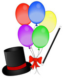 magic hat and wand with balloons - concept magic show  poster