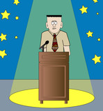 shy or nervous man giving speech standing in the spotlight  poster