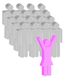 female or women stick figure leading a group of men