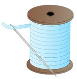 blue spool of thread with threaded needle attached  poster